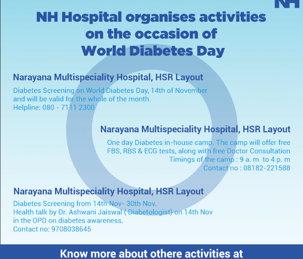 NH Hospital organises activities on the occasion of World Diabetes Day!