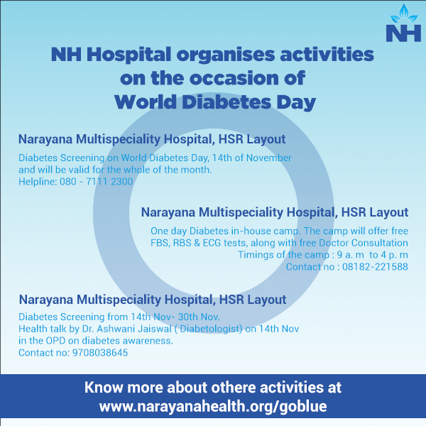 Narayana Multispeciality Hospital Organises diabetes screening program at HSR Layout, Bangalore