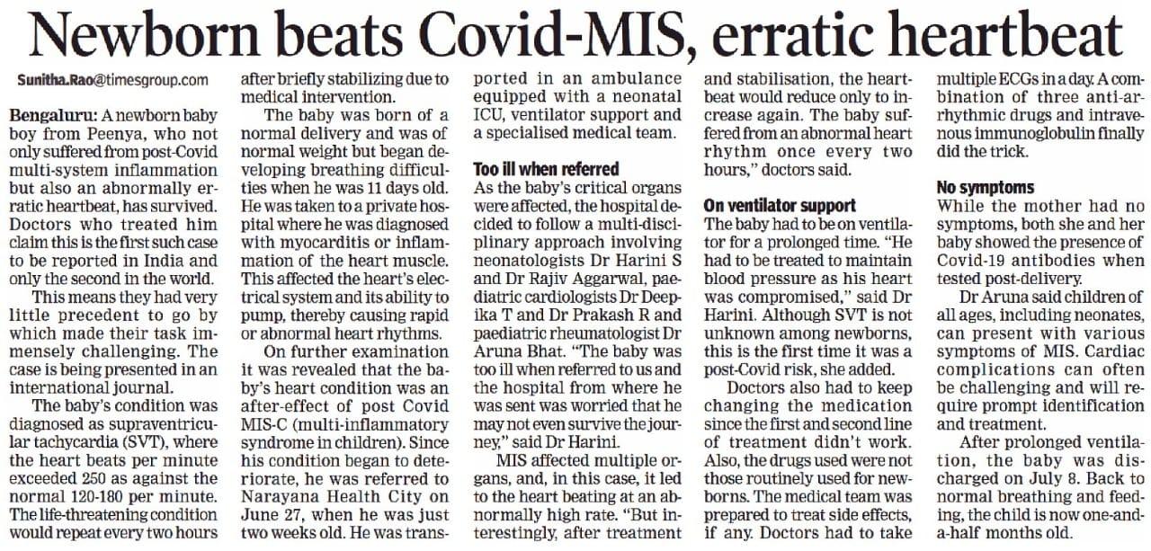 Newborn beats Covid-MIS, Erratic heartbeat
