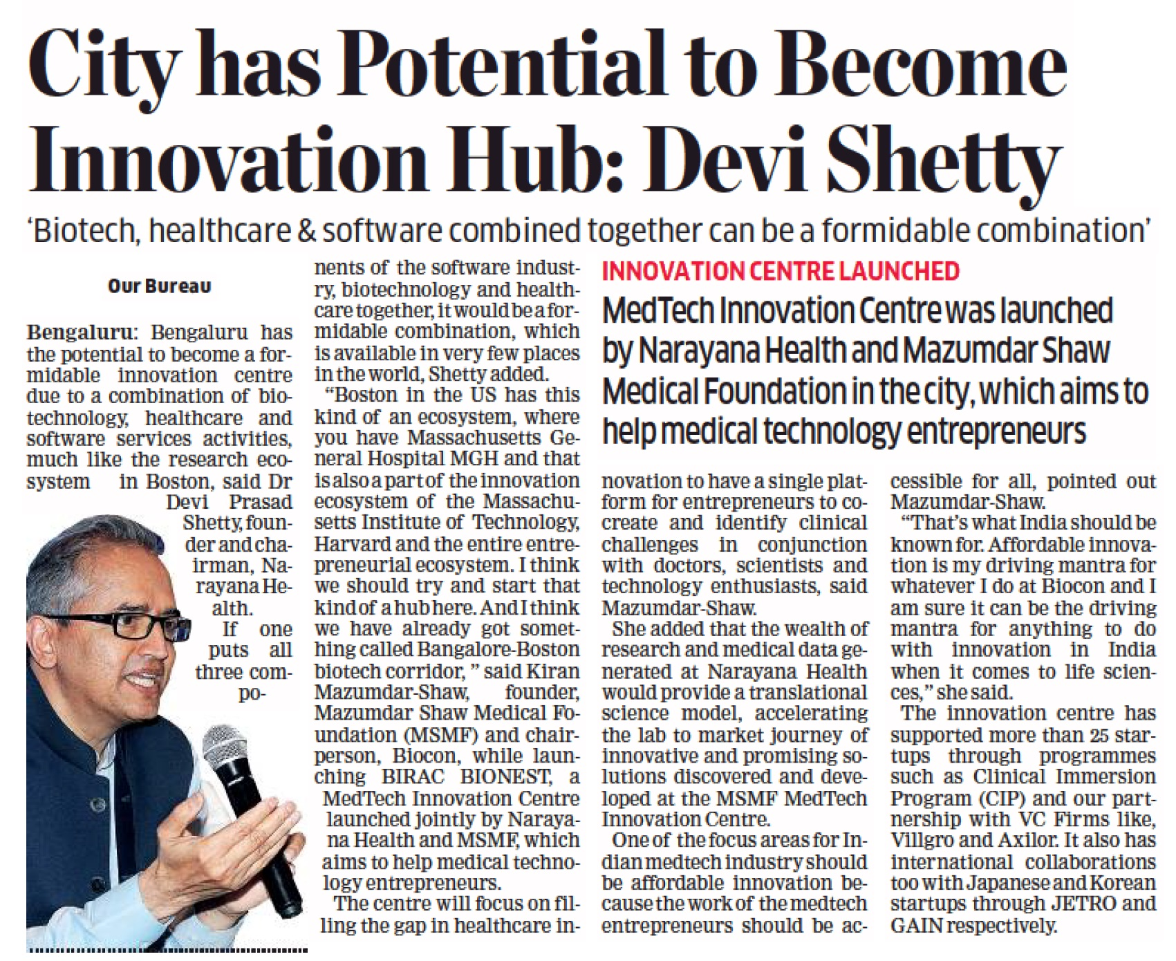 Launch of MSMF MedTech Innovation Centre at Narayana Health City, Bangalore.