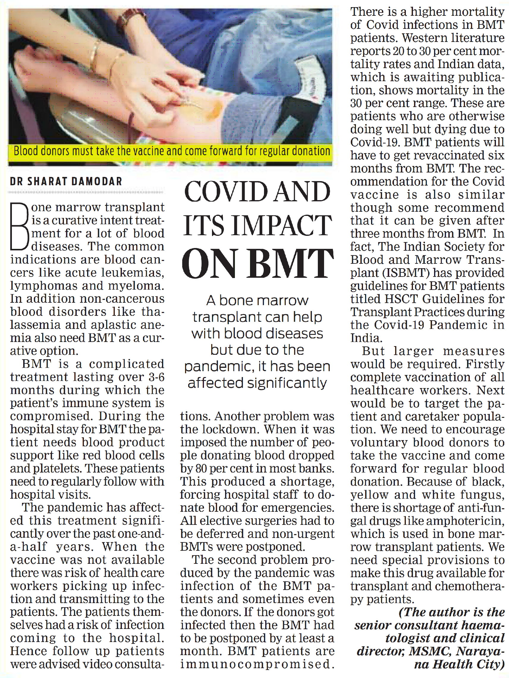 COVID and its Impact on BMT